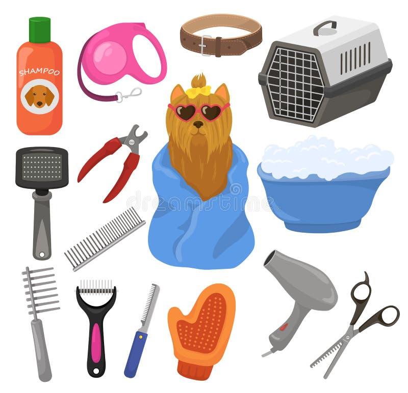 Pflegenvektor-Schoßhundzusatz oder Tierwerkzeuge bürsten Haartrockner im Groomersalon-Illustrationssatz des Welpenhündchens lizenzfreie abbildung