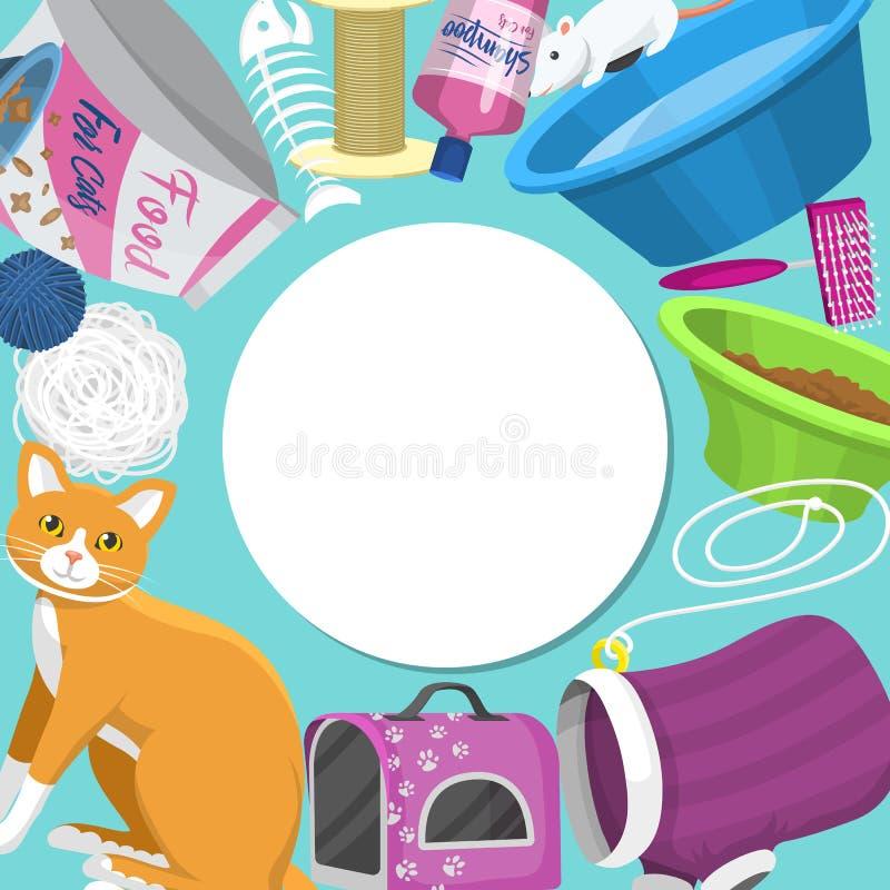 Pflegeprodukte für Vektorgrafiken Tierpflege, Lebensmittel und Spielzeug für Katzen, Toiletten, Träger und Ausrüstung für die Pfl vektor abbildung