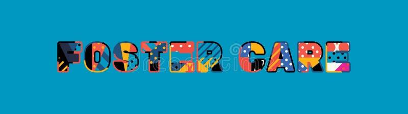 Pflegeunterbringungs-Konzept-Wort Art Illustration lizenzfreie abbildung