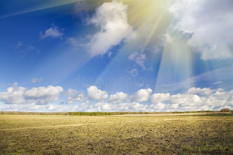 Pflug pflog braunes Lehmbodenfeld stockbilder