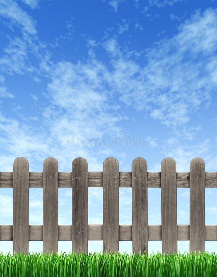 Pfosten-Zaun und blauer Himmel vektor abbildung