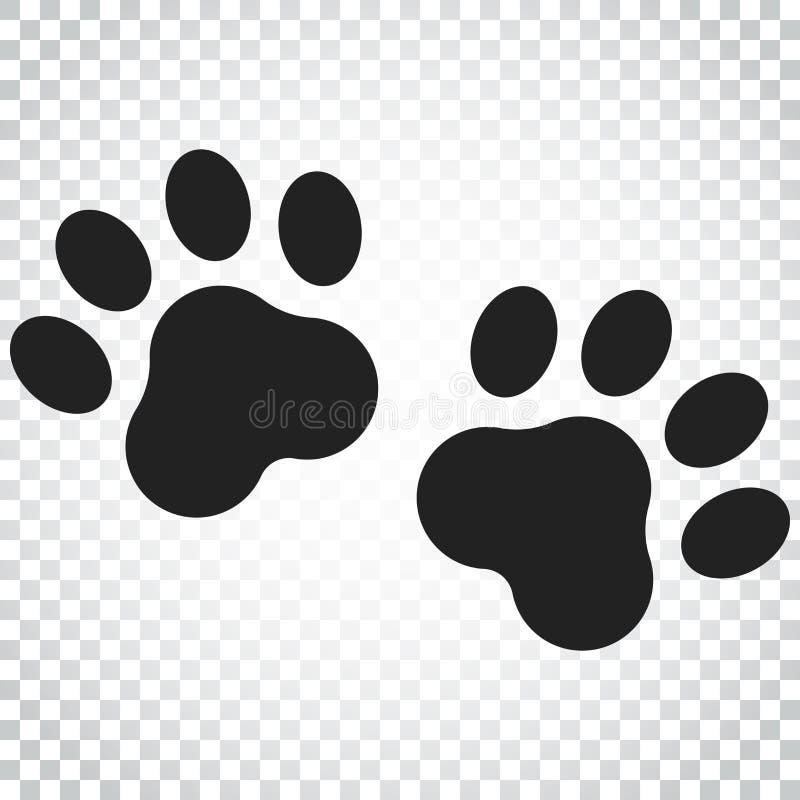 Pfotenabdruckvektorikone Hund- oder Katze pawprint Illustration tier vektor abbildung