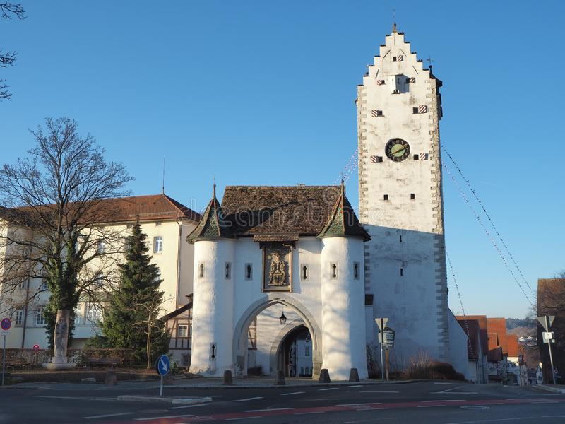 Pfullendorf, Germany. The old tower Oberes and the gate, part of the ancient medieval fortifications of the city stock photo
