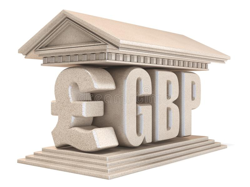 Pfund GBP-Währungszeichentempel 3D stock abbildung
