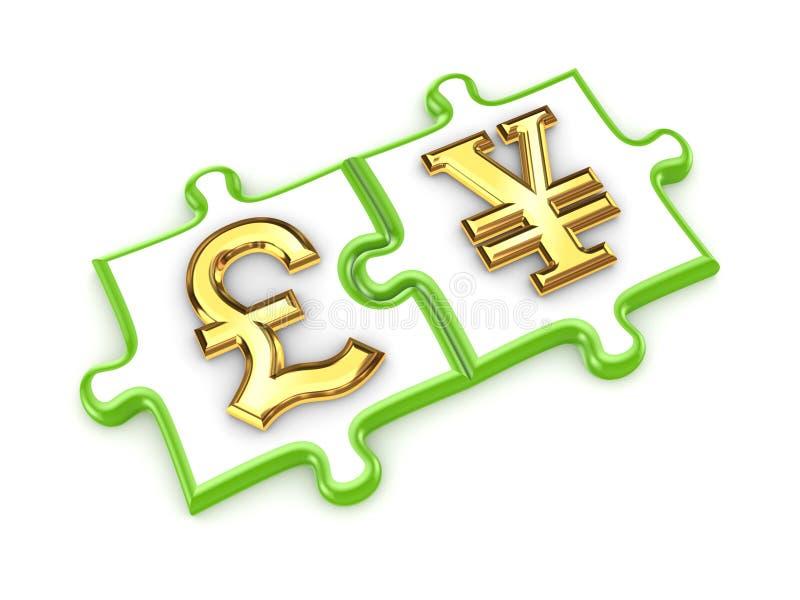 Pfundsterlings- und -yensymbole. lizenzfreie abbildung