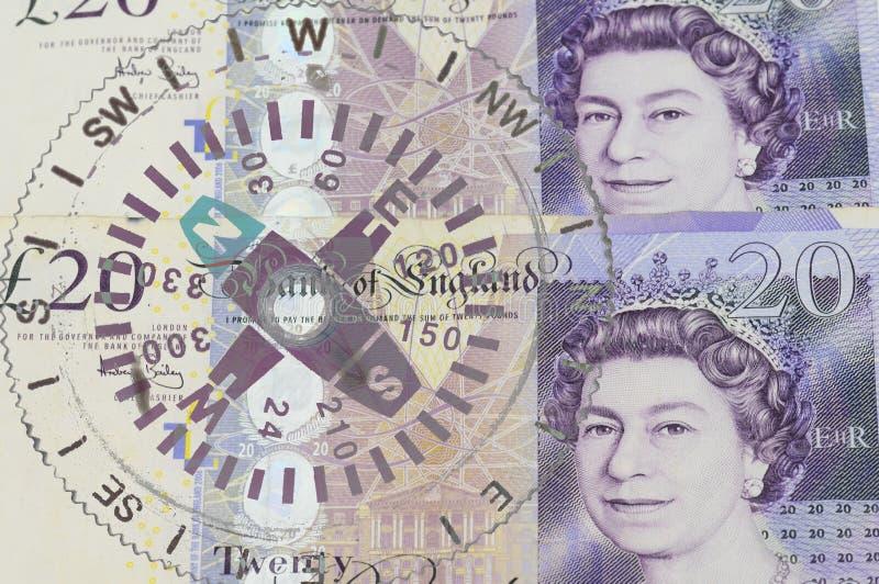 Pfundwährung des Vereinigten Königreichs, Kompass lizenzfreies stockbild
