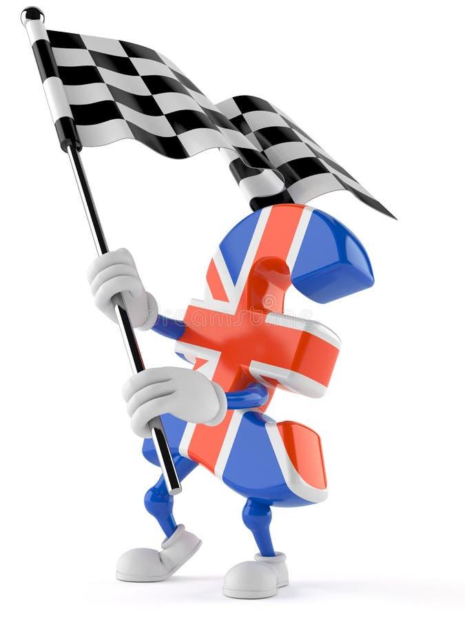 Pfundwährungscharakter mit Rennflagge stock abbildung