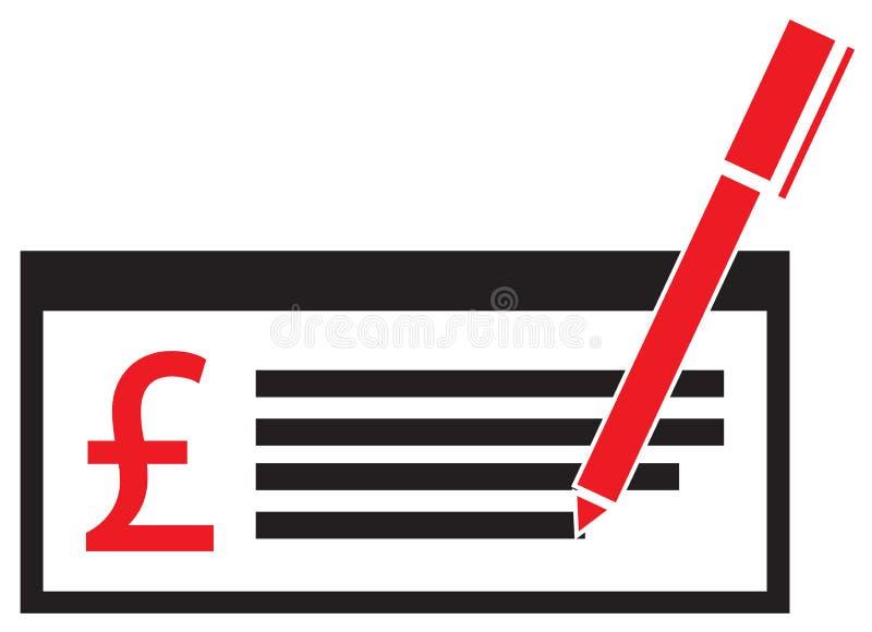 Pfundwährungsikone oder -logo auf einer Lohnkontrolle oder -scheck vektor abbildung