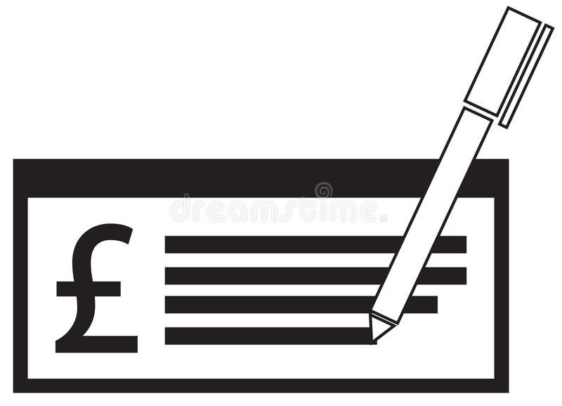 Pfundwährungsikone oder -logo auf einer Lohnkontrolle oder -scheck lizenzfreie abbildung