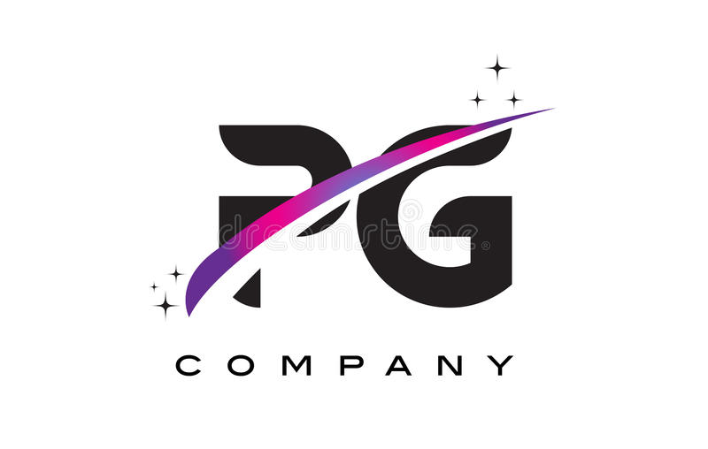Download PG P G Black Letter Logo Design With Purple Magenta Swoosh Stock Vector