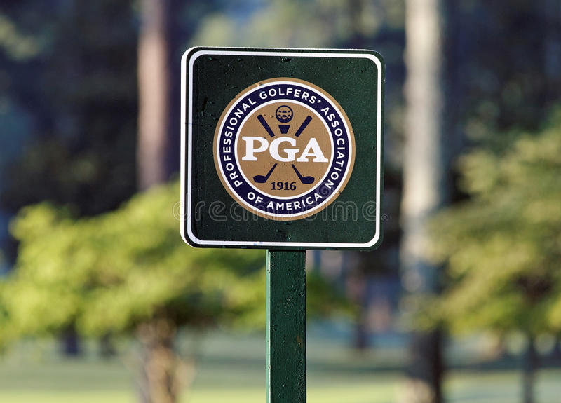 PGA Championship. A PGA sign on the golf course at the Atlanta Athletic Club in Johns Creek, Georgia royalty free stock photography
