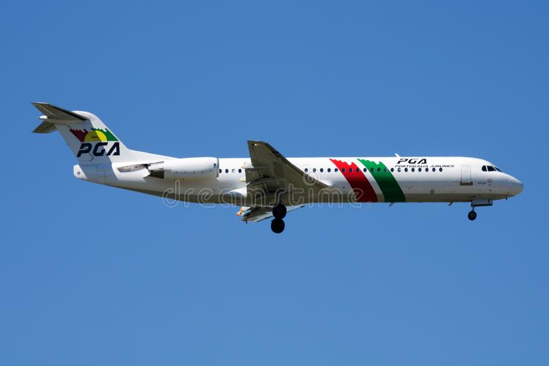 PGA Portugalia Airlines Fokker 100 CS-TPF passenger plane landing at Madrid Barajas Airport stock photos