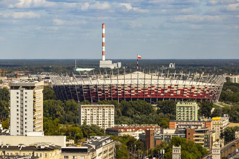 PGE Narodowy National Stadium in Warsaw, Poland. royalty free stock images