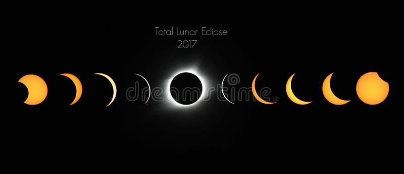 Phénomène d'éclipse totale image stock