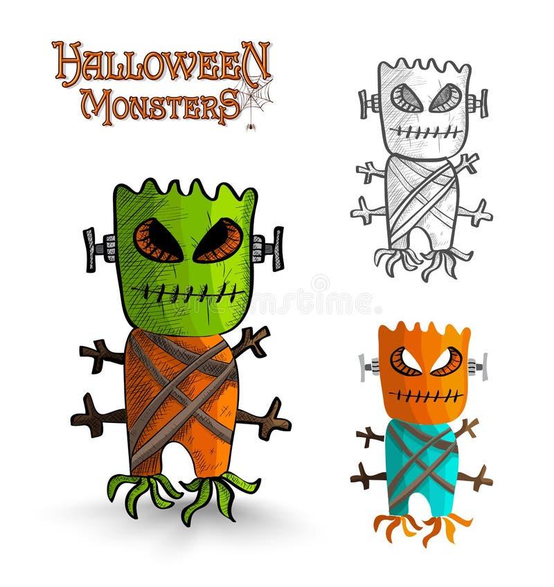 Phénomène effrayant EPS10 fi de tronc de masque de monstres de Halloween illustration stock