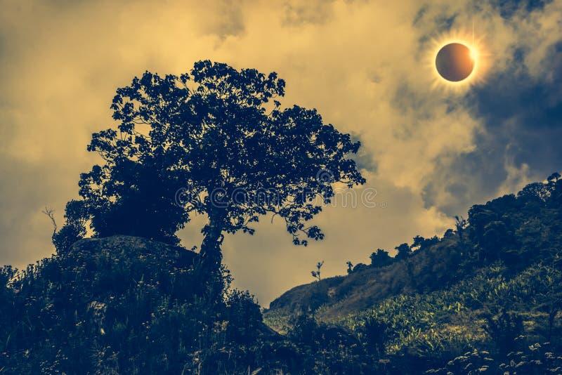 Phénomène naturel scientifique Éclipse solaire totale rougeoyant sur la SK photographie stock libre de droits