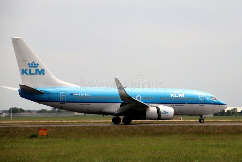PH-BGU KLM Royal Dutch Airlines Boeing 737 Flygplan som landar på Polderbaan 36L-18R vid flygplatsen Schiphol i Amsterdam i Net arkivfoton