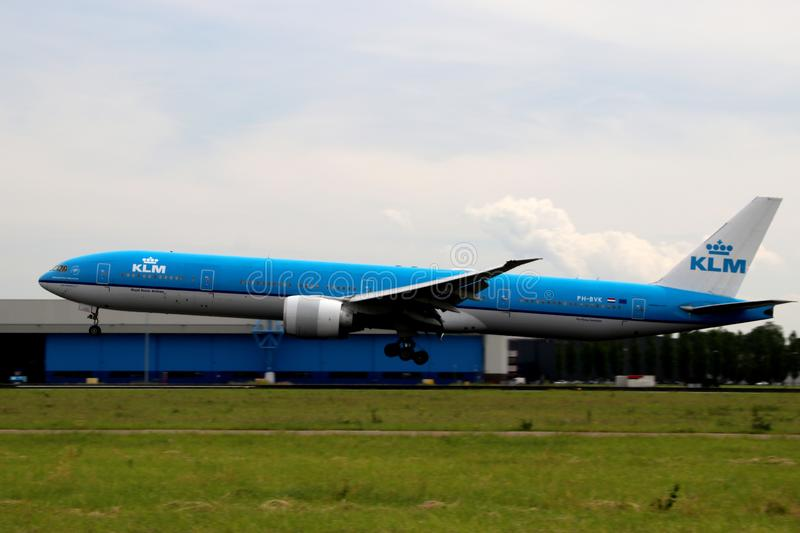 PH-BVK KLM Royal Dutch Airlines Boeing 777-306 Aircraft at the .Aalsmeerbaan 36R-18L at Amsterdam Schiphol airport in the Netherla royalty free stock images