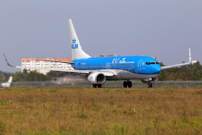PH-BXU KLM Royal Dutch Airlines Boeing 737-800 aircraft departing from the Borispol International Airport. Borispol, Ukraine - September 10, 2019: PH-BXU KLM royalty free stock photo