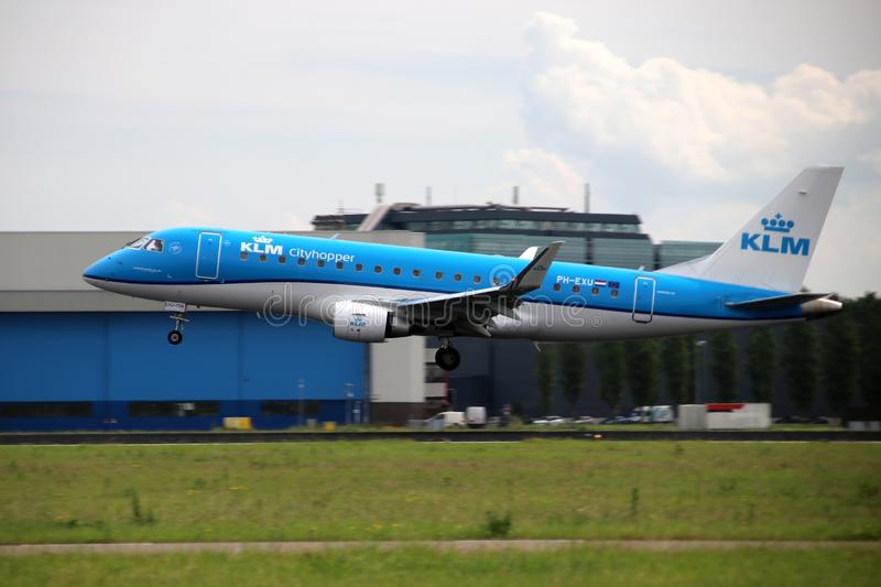 PH-EXU KLM Cityhopper Embraer ERJ-175STD Aircraft at the Aalsmeerbaan 36R-18L at Amsterdam Schiphol airport in the Netherlands. stock photography
