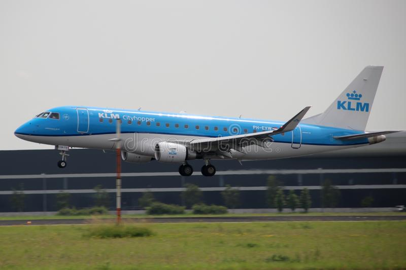 PH-EXW KLM Cityhopper Embraer ERJ-175STD Aircraft at the Aalsmeerbaan 36R-18L at Amsterdam Schiphol airport in the Netherlands. royalty free stock photo