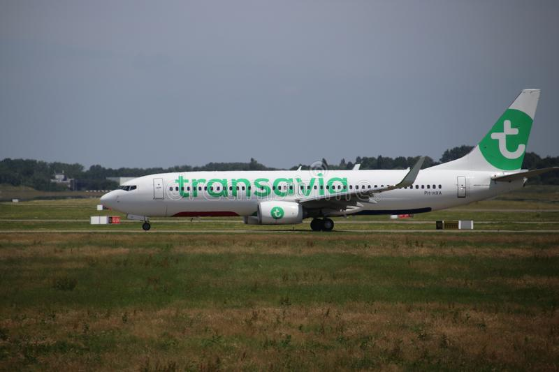 PH-HXA Transavia Boeing 737-8K2 is moving to the 06/24 runway on Rotterdam The Hague Airport in the Netherlands royalty free stock photos
