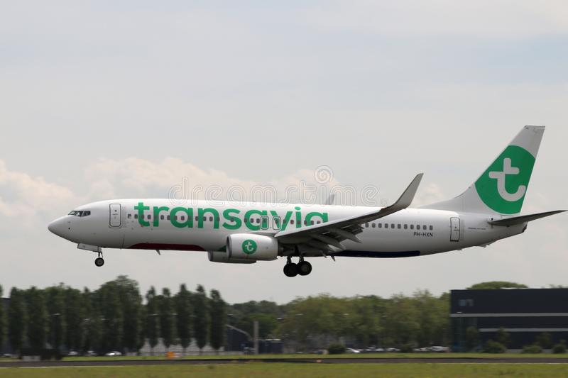 PH-HXN Transavia Boeing 737-8K2 Aircraft at the .Aalsmeerbaan  36R-18L at Amsterdam Schiphol airport in the Netherlands stock photography