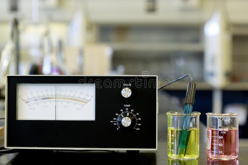 PH meter with buffers royalty free stock photography