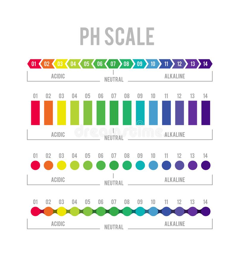 PH meter for measuring acid alkaline balance. Vector infographics in the circle form with pH scale. On white background royalty free illustration