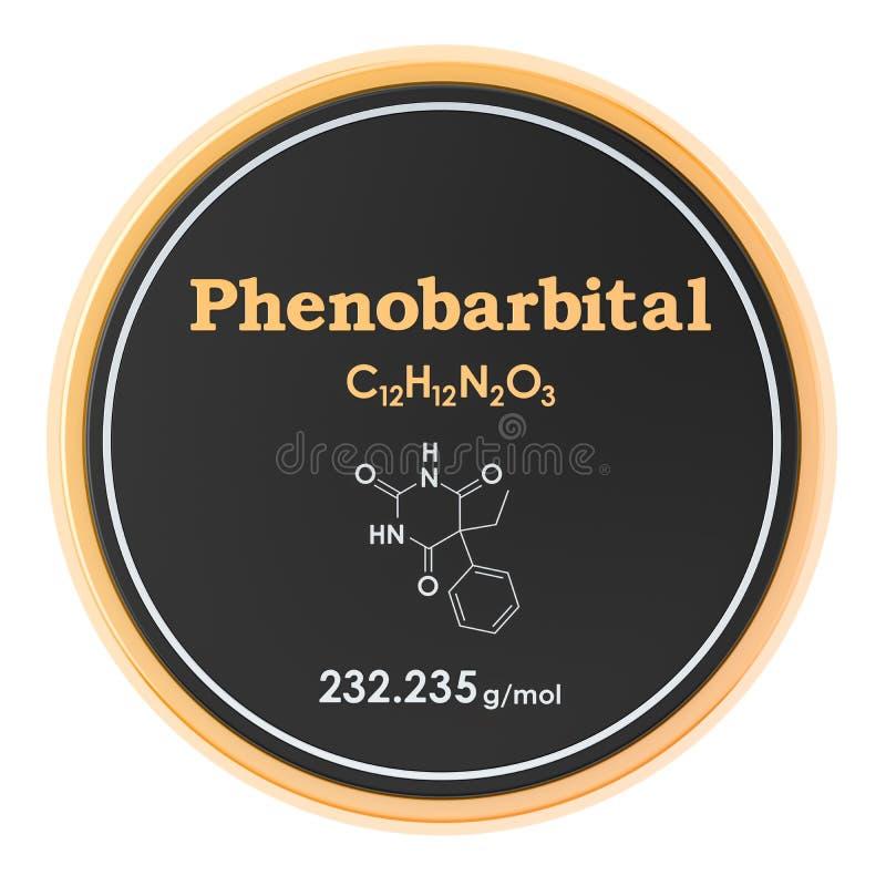 ph?nobarbital Formule chimique, structure mol?culaire rendu 3D d'isolement sur le fond blanc illustration de vecteur