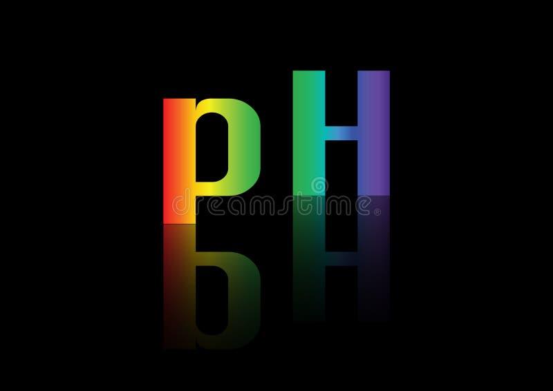 PH równowagi ikona, czarny tło ilustracja wektor