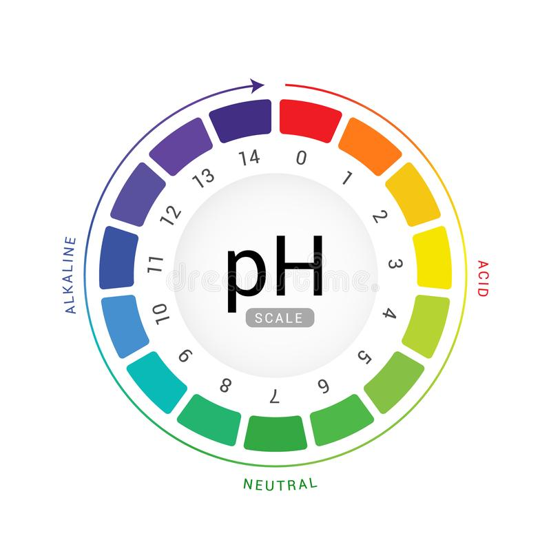 PH scale indicator chart diagram acidic alkaline measure. pH analysis vector chemical scale value test.  vector illustration