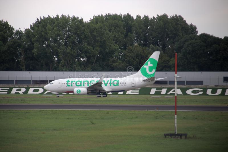 PH-XRA Transavia Boeing 737-7K2WL is moving to the 06/24 runway stock image