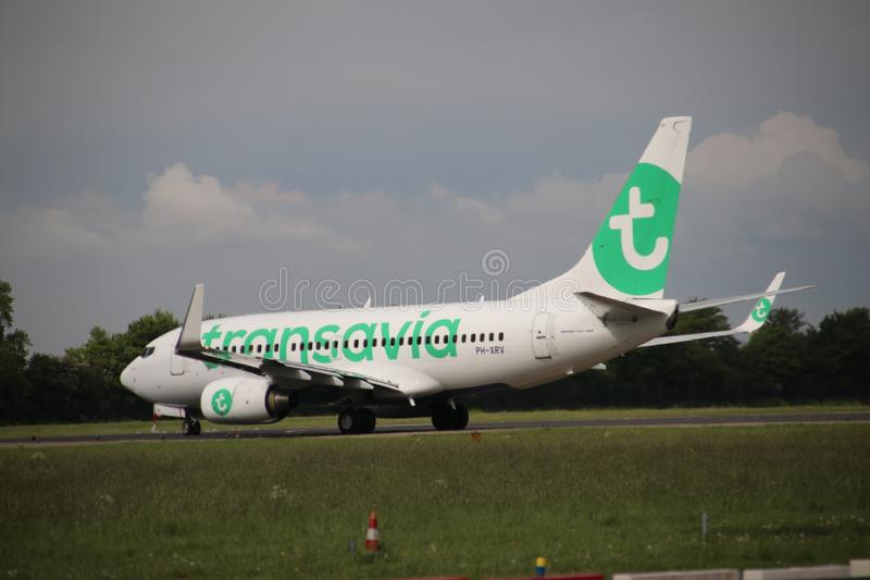 PH-XRV Boeing 737-7K2 of Transavia ready for take off at Rotterdam The Hague Airport in the Netherlands. PH-XRV Boeing 737-7K2 of Transavia ready for take off stock images