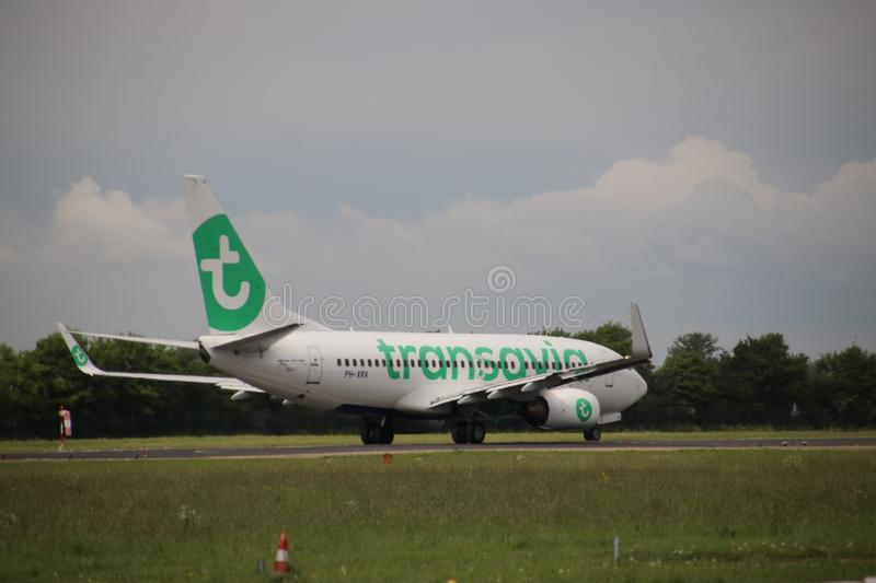 PH-XRV Boeing 737-7K2 of Transavia ready for take off at Rotterdam The Hague Airport in the Netherlands. PH-XRV Boeing 737-7K2 of Transavia ready for take off royalty free stock photos