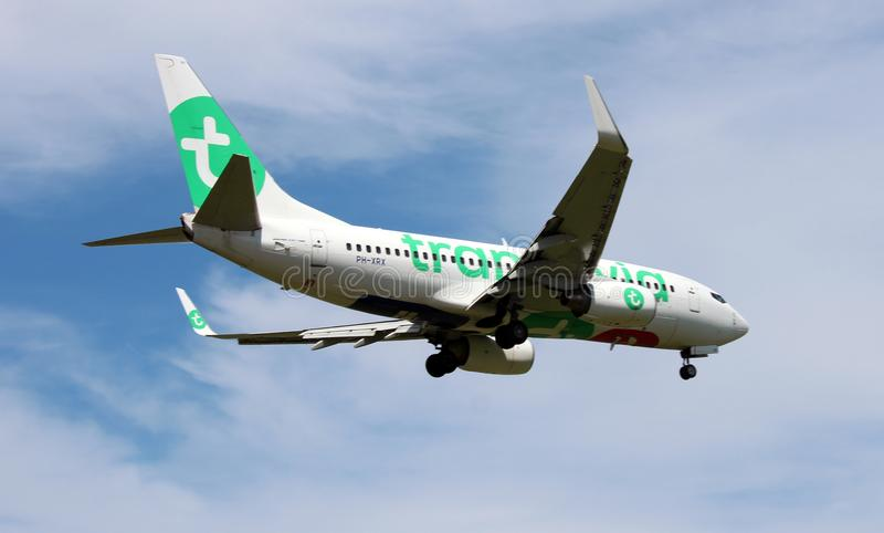 PH-XRX Transavia Boeing 737-700 above the Rotterdam The Hague Airport in the Netherlands. stock photo