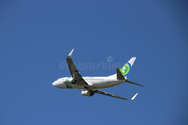 PH-XRZ Transavia Boeing 737-7K2 landing at the Rotterdam The Hague airport in the Netherlands. stock image