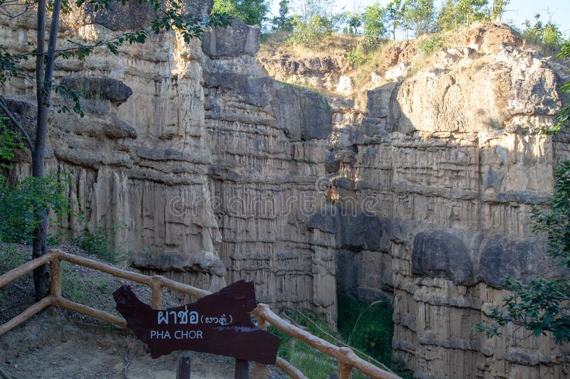 Grand canyon in Thailand, Asia. Pha Chor Canyon, in national park, Chiang Mai Province, Thailand - November 2018 : Post in Thai, Chinese and English language of royalty free stock image