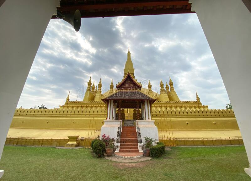 Ancient Buddhist pagoda in Vientiane, Laos royalty free stock images