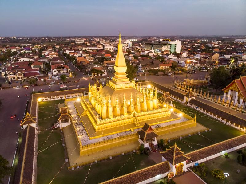 Pha That Luang is a gold-covered large Buddhist stupa and be most important national monument in Laos and a national symbol. stock photos