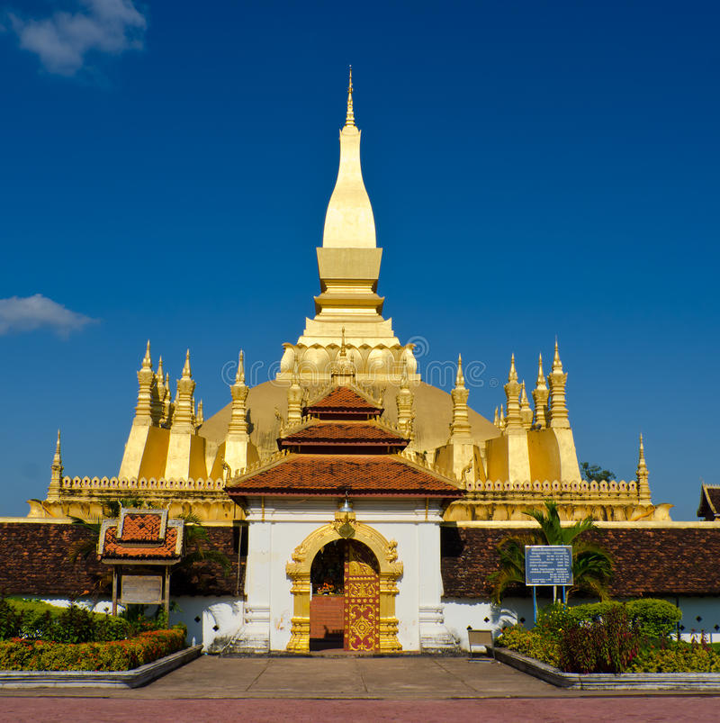 Pha Luang stupa在万象,老挝。 免版税库存图片