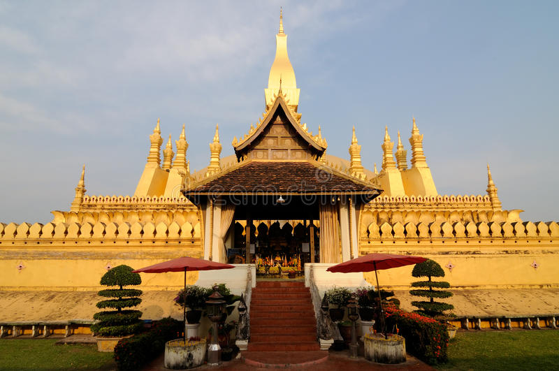 Pha That Luang stupa stock photography