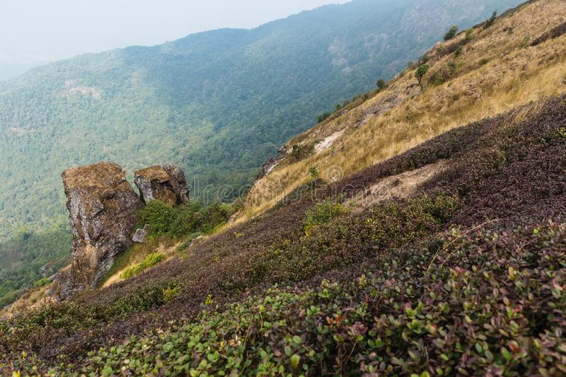 Pha-Ngam Noi: Twin Granite Rock Outcrop with green and purple plants with moving cloud in the background at Kew Mae Pan. stock image