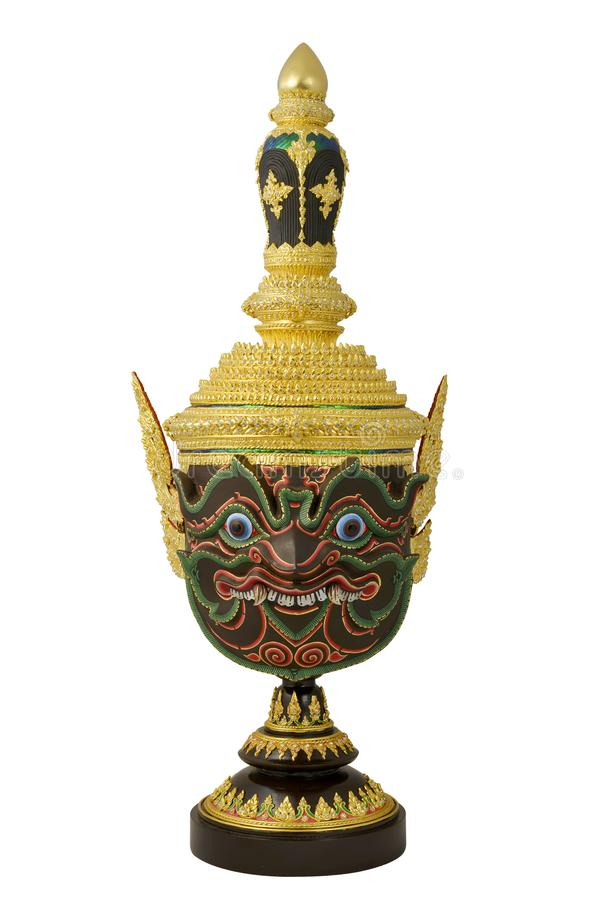 `Pha Rahu` design in Thai traditional actor`s mask or Khon mask with pedestal design high detail. With white isolated background royalty free stock images