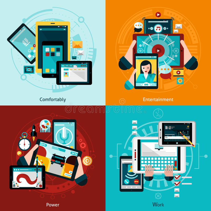 Phablet And Tablet Icons Set stock illustration