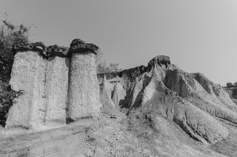 Phae Muang小便森林公园黑白风景在nort的 库存照片