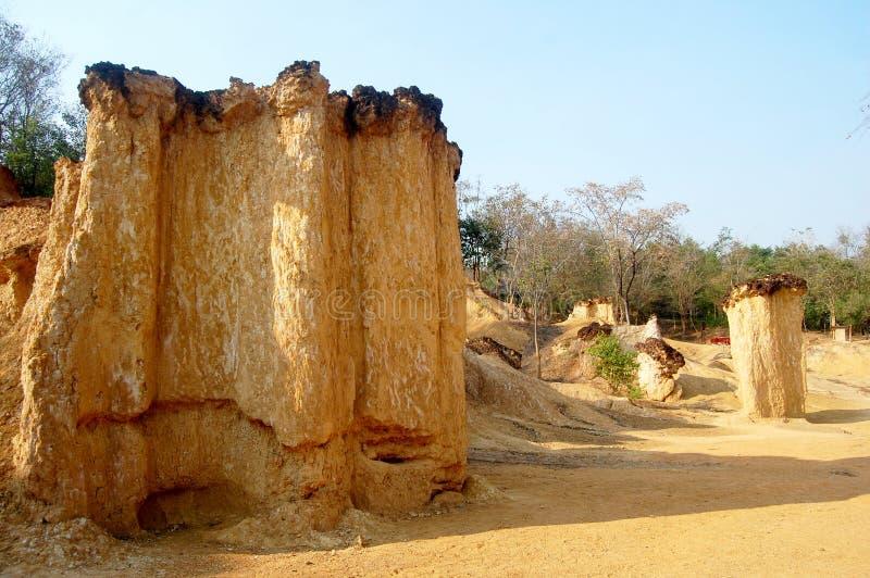 Phae Mueang Phi w Pae Mueng siuśki Królewskim parku przy Phrae, Tajlandia obrazy stock