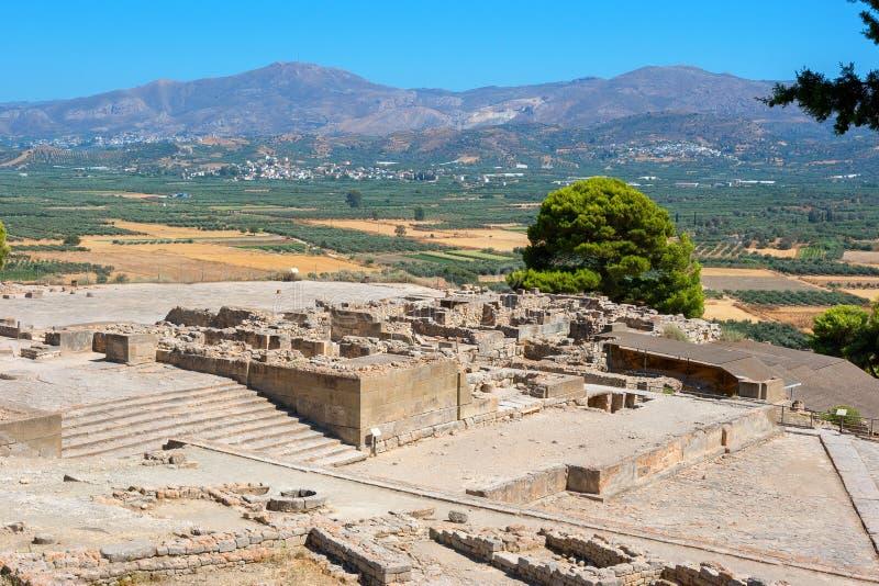 Phaistos宫殿。克利特,希腊 图库摄影