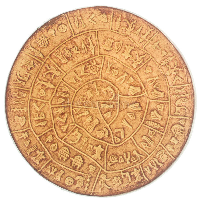 Phaistos disc. An artefact discovered at the minoan site of Phaistos, Crete - Greece stock photography