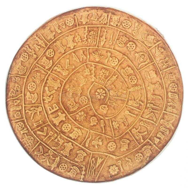 Phaistos disc. An artefact discovered at the minoan site of Phaistos, Crete - Greece stock photos